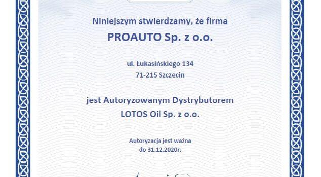 Certyfikat 2019 634x349 - Proauto dalej z Lotosem
